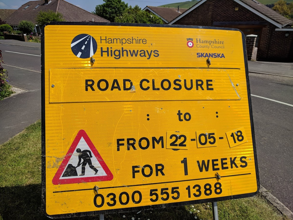 New Road, Clanfield - road closure
