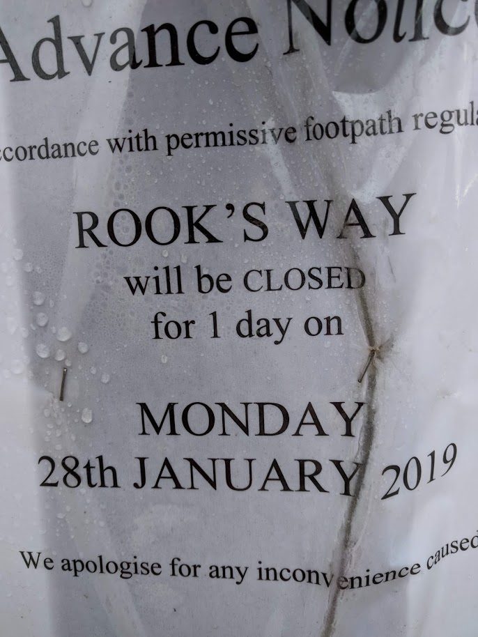Rook's Way – One Day Path Closure