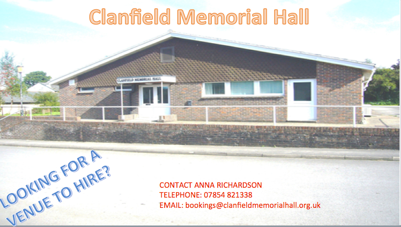 The car-park of the Clanfield Memorial Hall will be closed ....