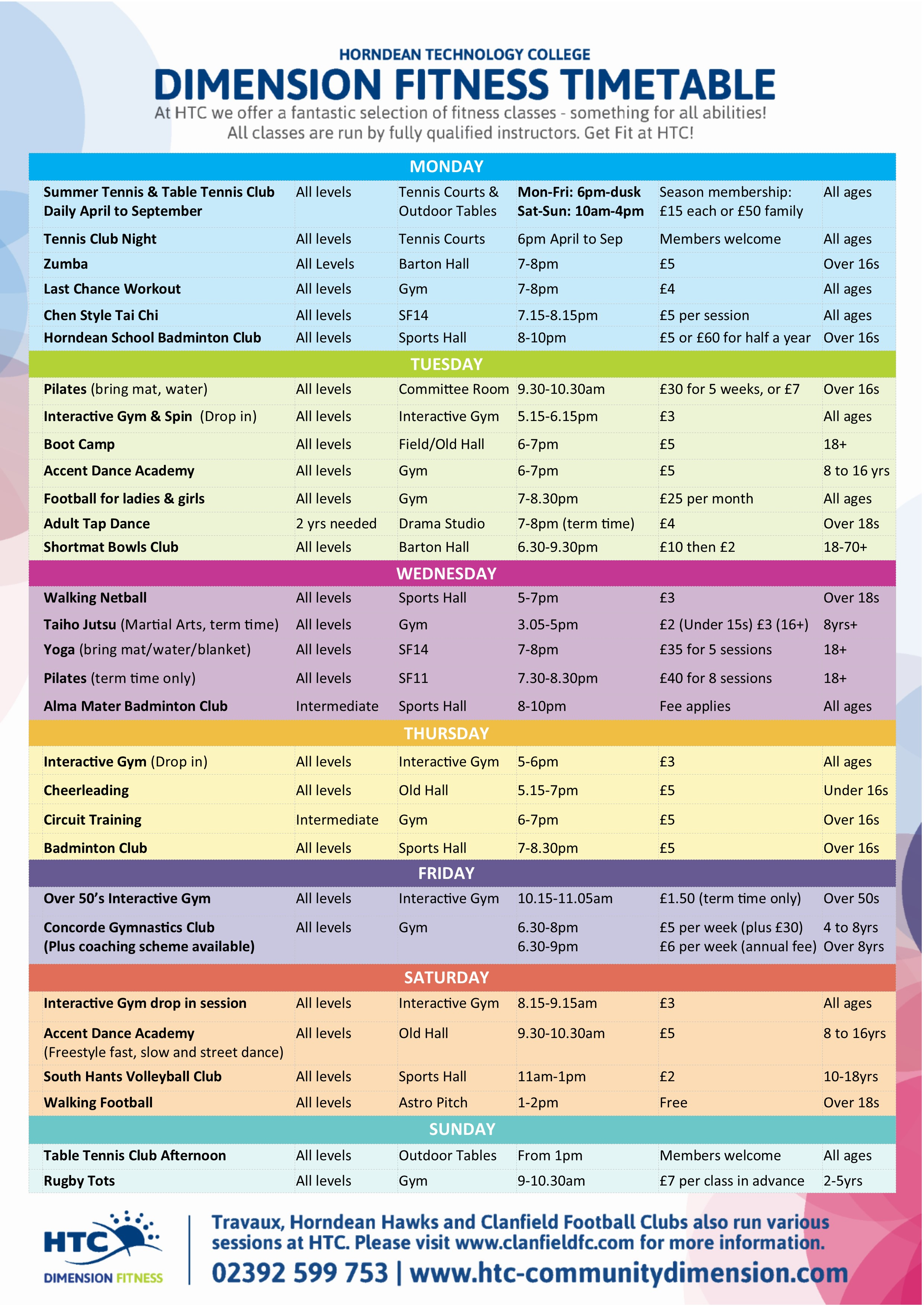 New Dimension Fitness Timetable at HTC