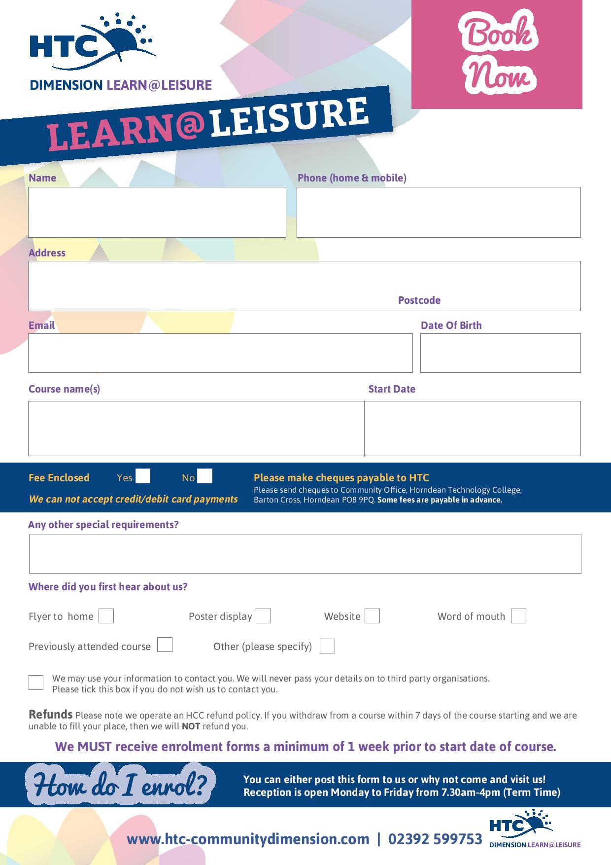 learn and leisure form
