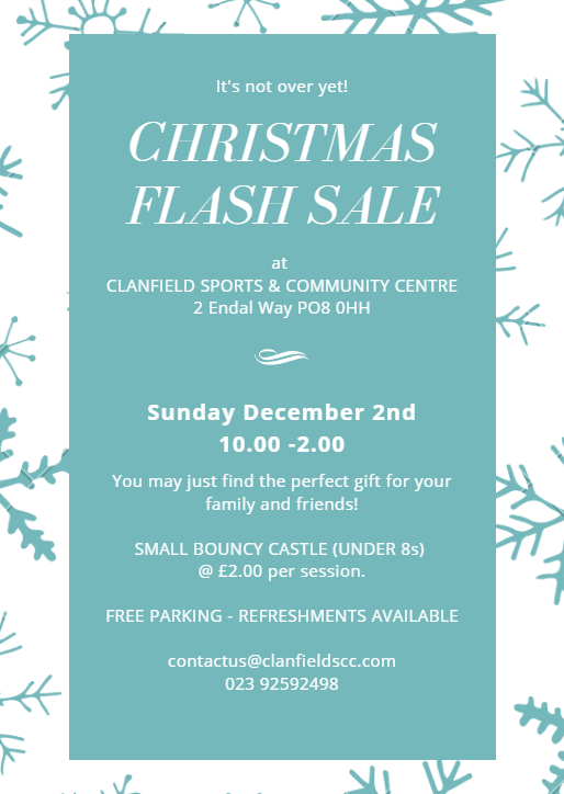 Clanfield Sports and Community Centre Christmas Flash Sale