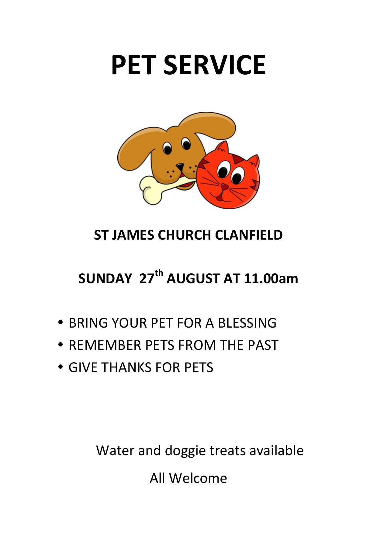 St James Church,  Pet Service
