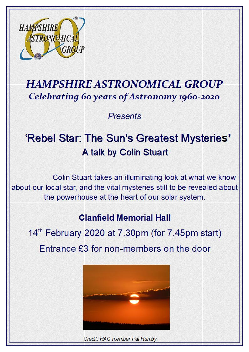 Hampshire Astronomical Group - Rebel Star: The Sun's Greatest Mysteries