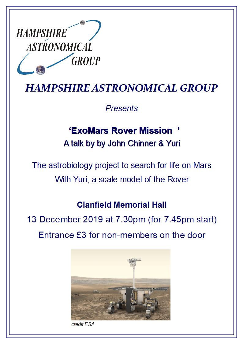 Hampshire Astronomical Group - Exo-Mars Rover Mission