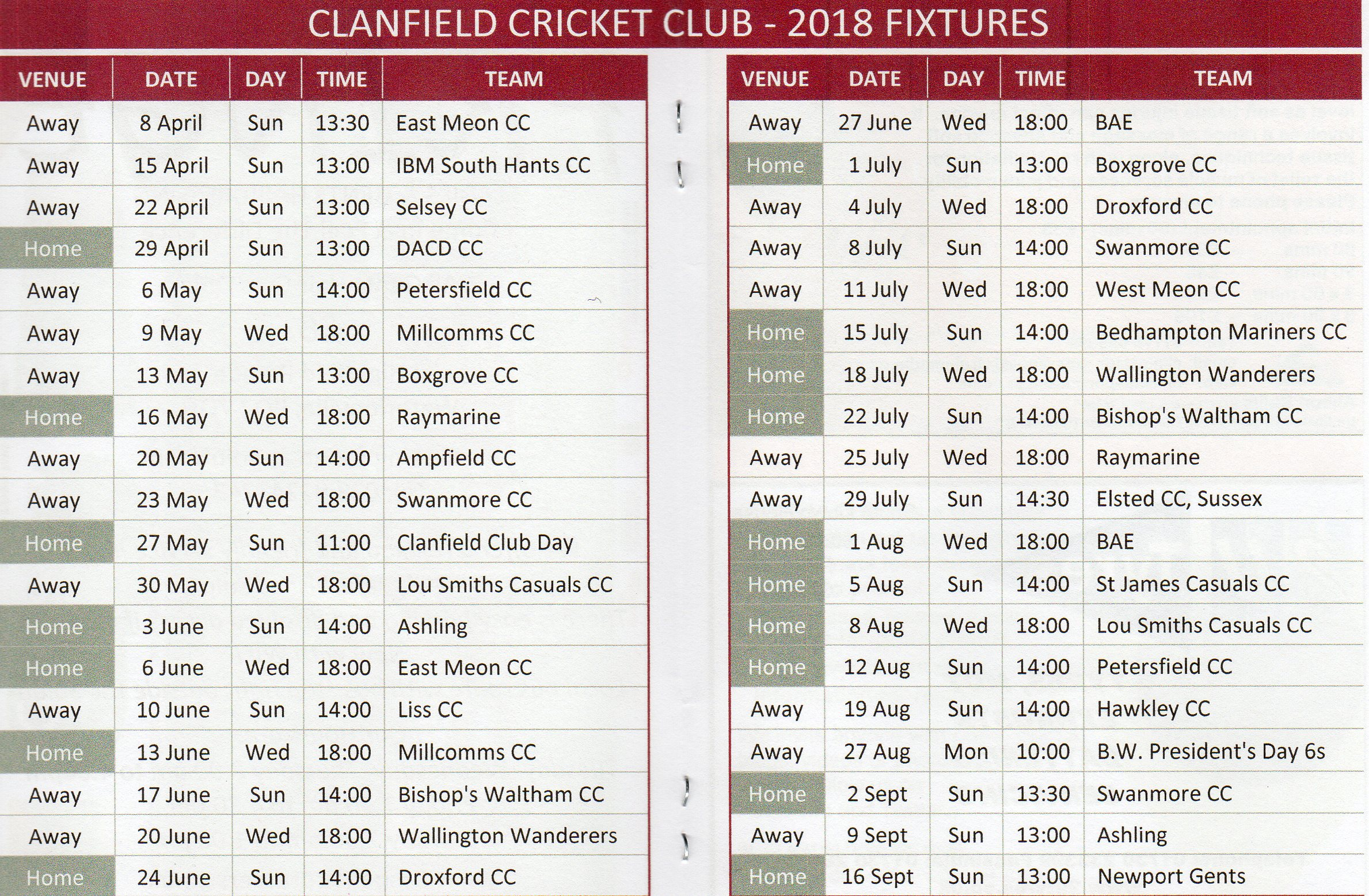 Clanfield Cricket Club Fixtures