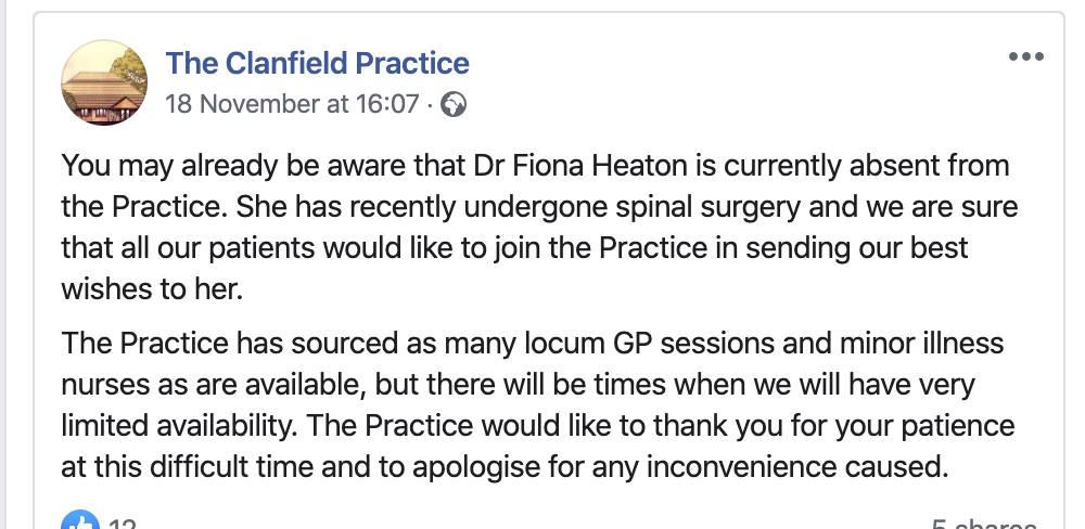 A message from The Clanfield Practice