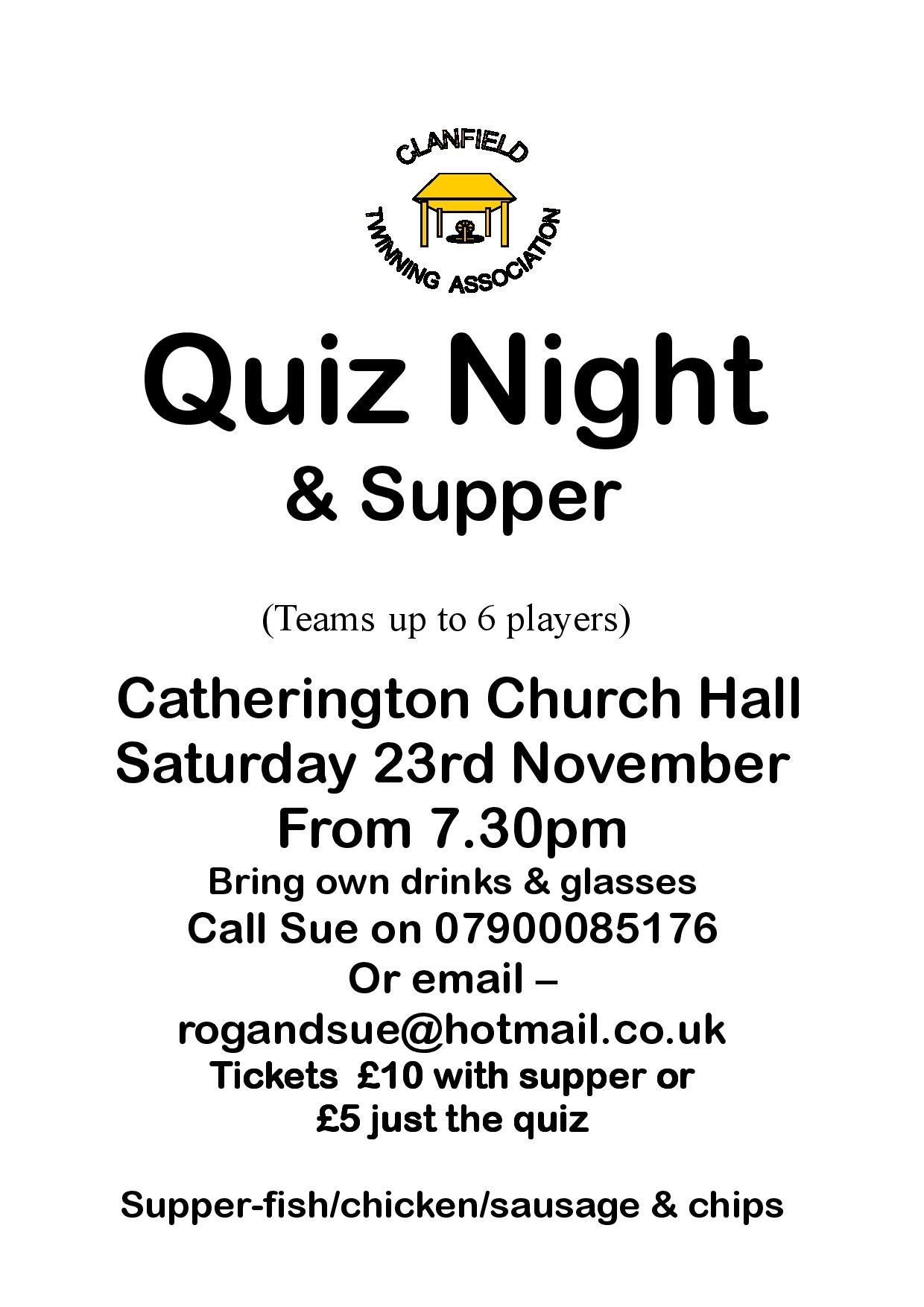 Clanfield Twinning Association Quiz Night