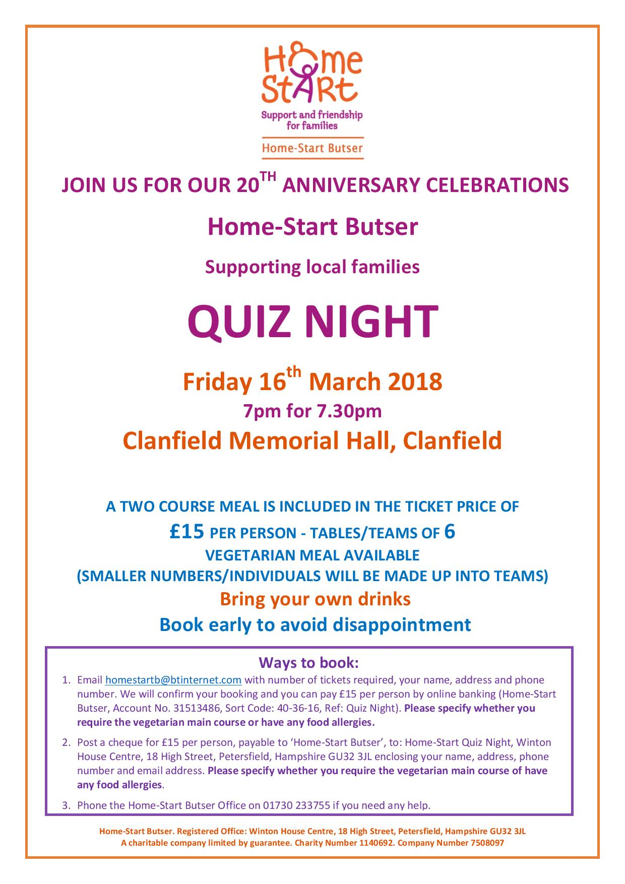 Home-Start Butser Quiz Night