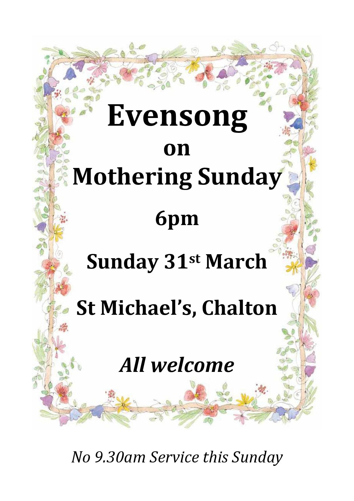 St Michael's Church, Mothering Sunday Evensong
