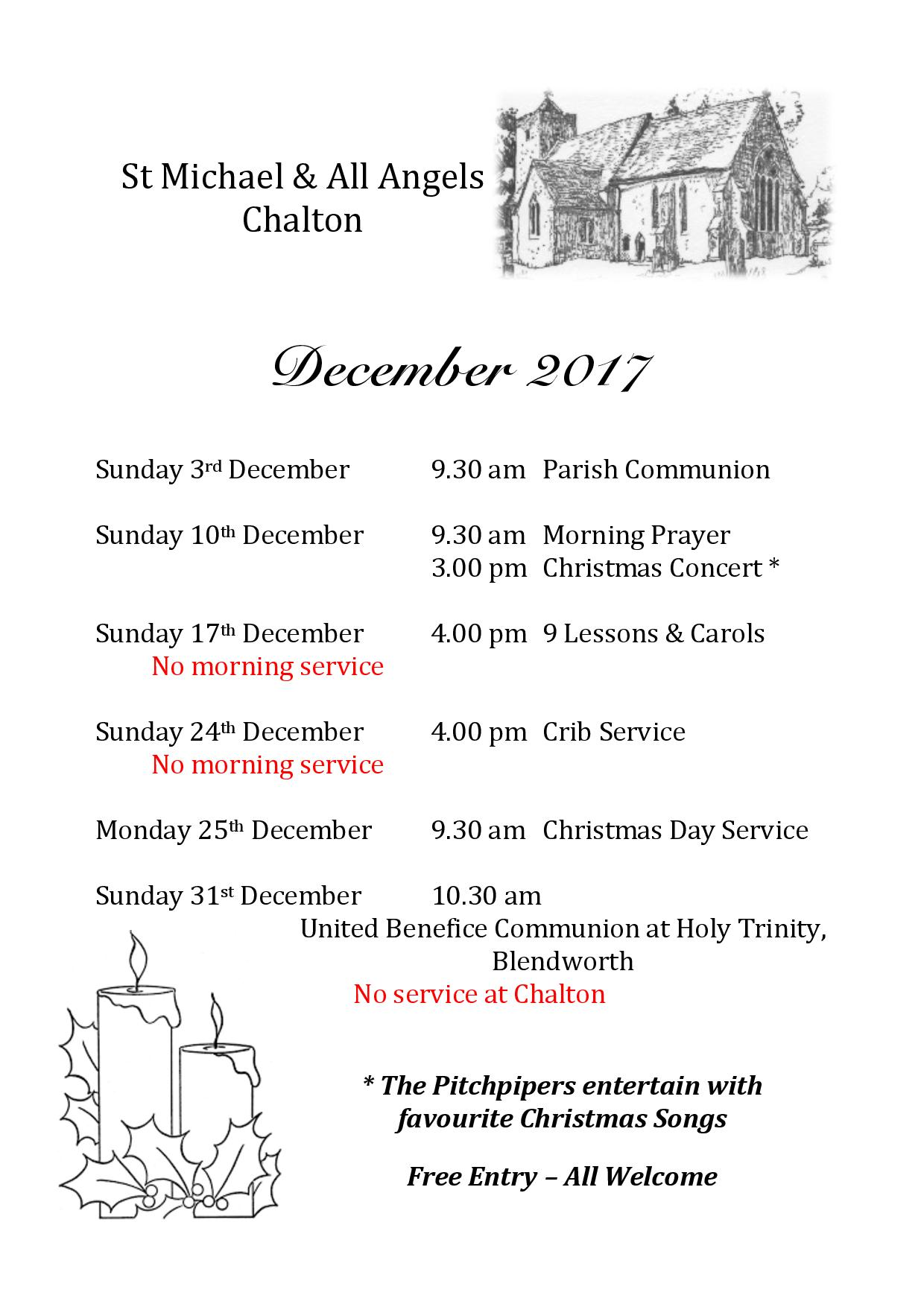 Christmas Services at St Michael and All Angels  Church, Chalton