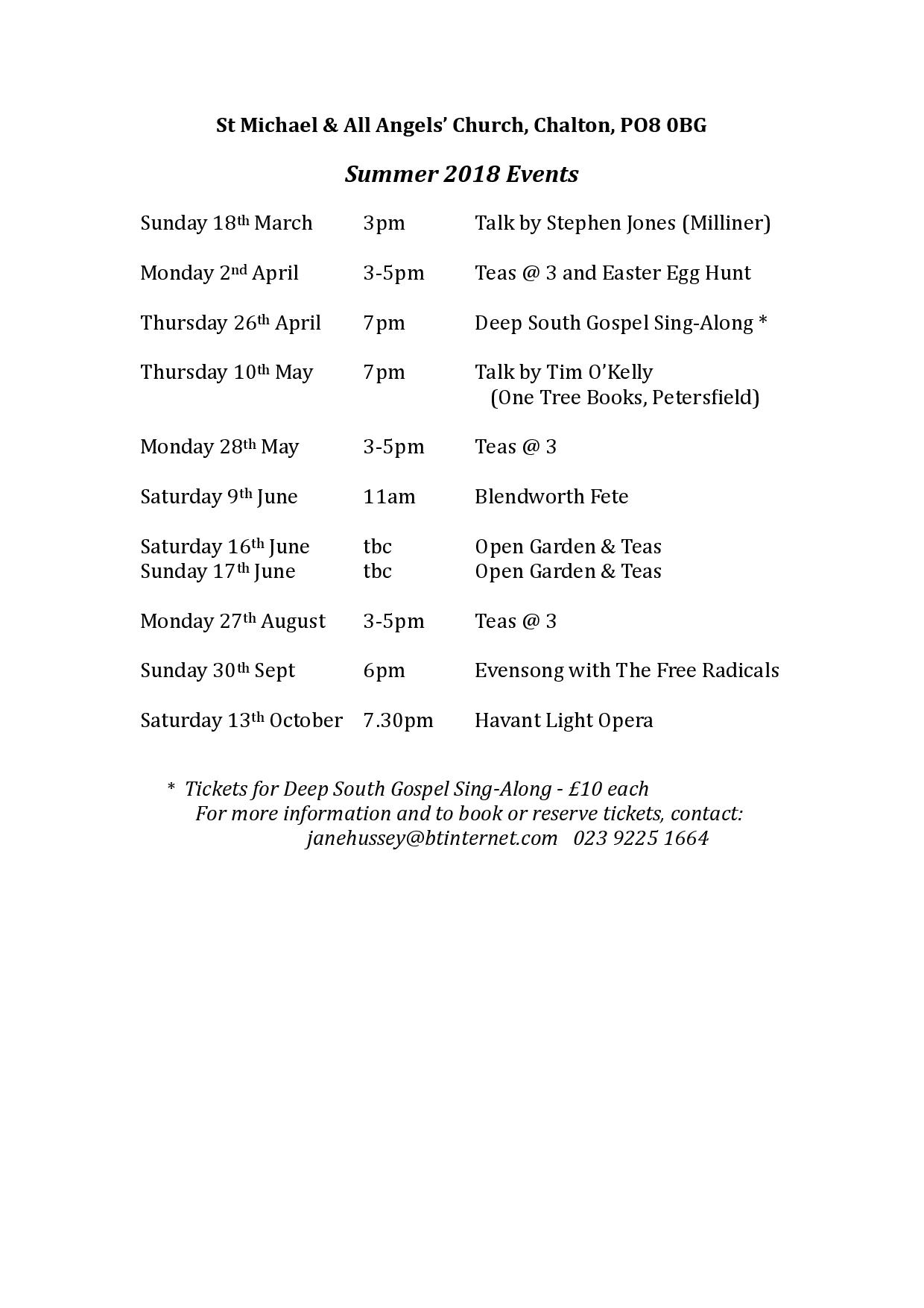 Spring Events at St Michael and All Angels' Church, Chalton
