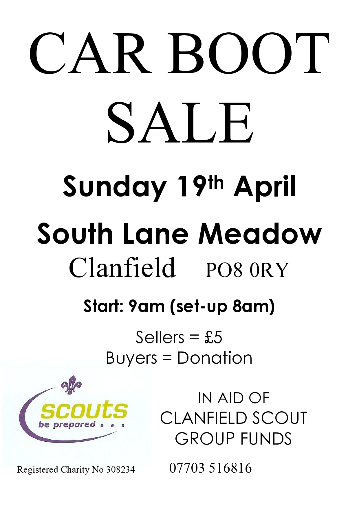 Clanfield Scouts Car Boot Sale