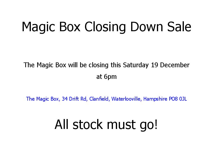 magic box closing down notice